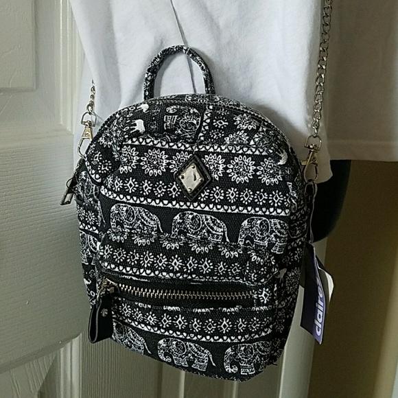 brand new 8057d 2c035 Elephant print Canvas Crossbody Mini Backpack